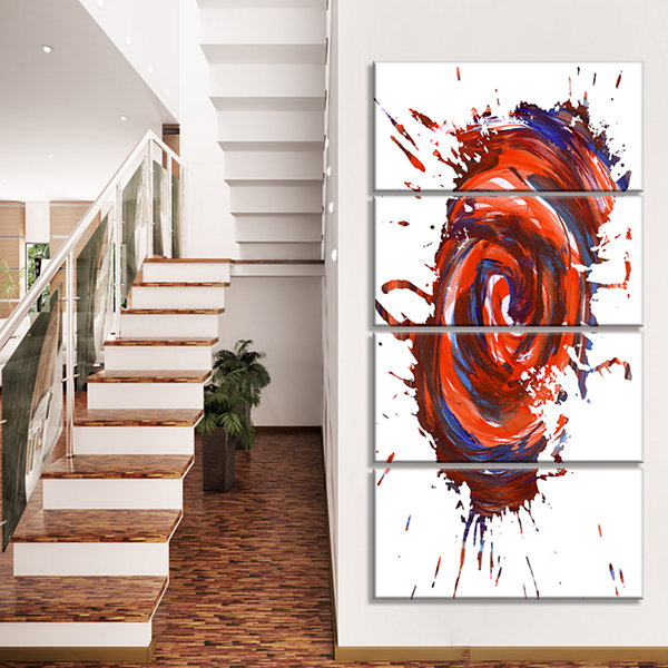Designart Red Multicolor Stain Abstract WatercolorCanvas Art Print - 4 Panels