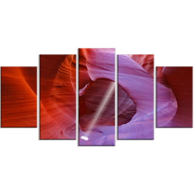 Designart Red Orange Antelope Canyon Landscape Photo CanvasArt Print - 5 Panels