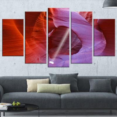 Designart Red Orange Antelope Canyon Large Landscape Photo Canvas Art Print - 5 Panels