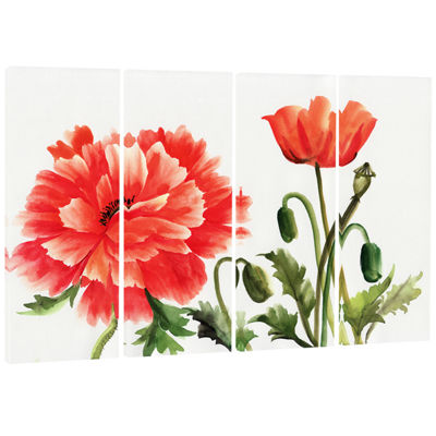 Designart Red Poppies Abstract Watercolor Canvas Art Print -4 Panels
