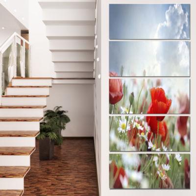 Designart Red Poppies on Cloudy Background FloralCanvas ArtPrint - 5 Panels