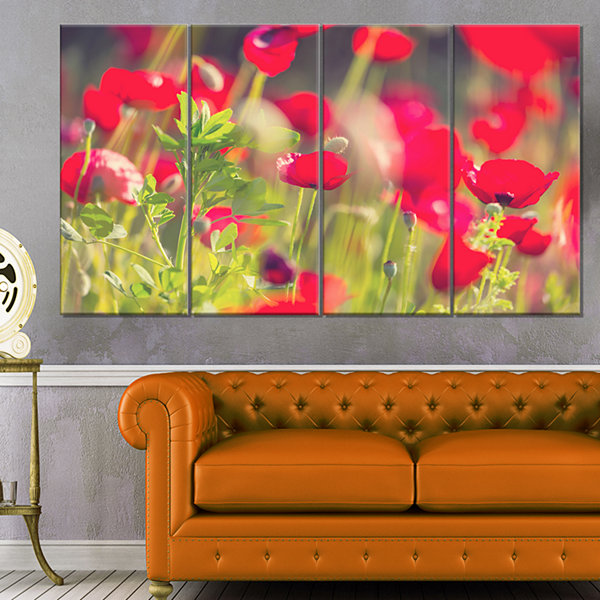Designart Red Poppies on Green Background Large Flower Canvas Art Print - 4 Panels