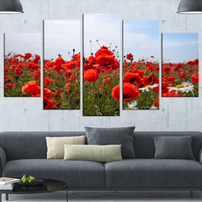 Designart Red Poppies Under Bright Blue Sky FlowerArtwork on Canvas - 5 Panels