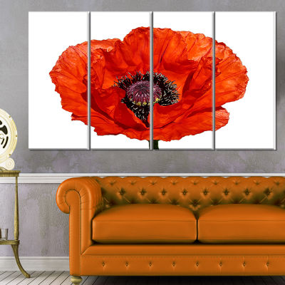 Designart Red Poppy Blossom Close Up Floral CanvasArt Print- 4 Panels