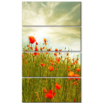 Designart Red Poppy Flowers in Green Field FloralCanvas ArtPrint - 4 Panels