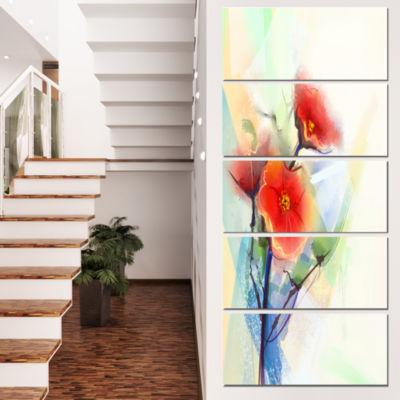 Designart Red Poppy Flowers on Grunge Back FloralCanvas ArtPrint - 4 Panels
