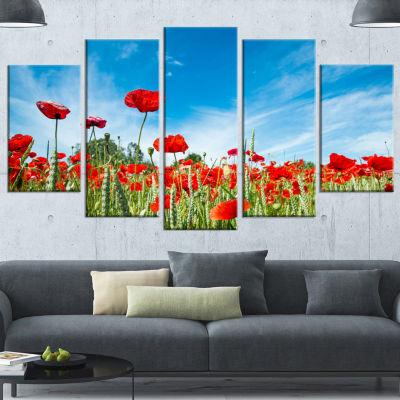 Designart Red Poppy Garden Under Clear Sky FloralCanvas ArtPrint - 4 Panels