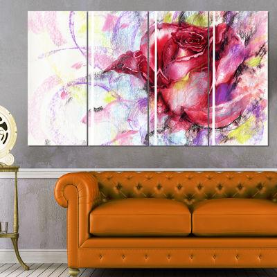 Designart Red Rose Illustration Floral Art CanvasPrint - 4Panels
