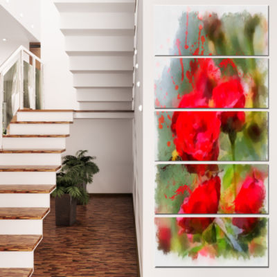 Designart Red Roses on Green Watercolor Flower Artwork on Canvas - 5 Panels
