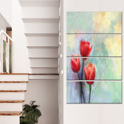 Red Tulips on Light Blue Watercolor Large Floral Canvas Artwork - 4 Panels