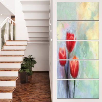 Red Tulips on Light Blue Watercolor Large Floral Canvas Artwork - 5 Panels