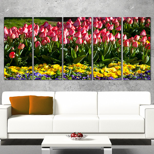 Designart Red Tulips With Yellow Purple Flowers Large FlowerCanvas Art Print - 4 Panels