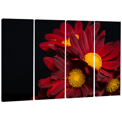 Red Velvet Chrysanthemum Flowers Floral Art CanvasPrint - 4 Panels