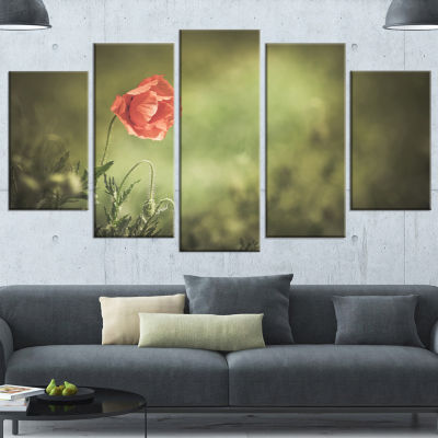 Red Wild Poppy Flower on Green Floral Wrapped Canvas Art Print - 5 Panels