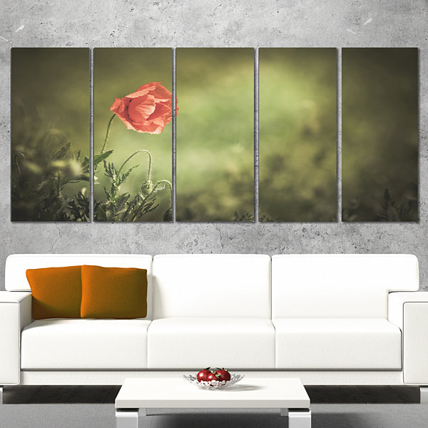 Red Wild Poppy Flower on Green Floral Canvas Art Print - 5 Panels