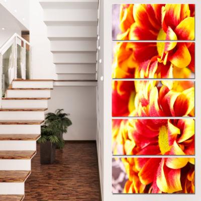 Designart Red Yellow Flower Background Photo LargeFloral Canvas Artwork - 4 Panels