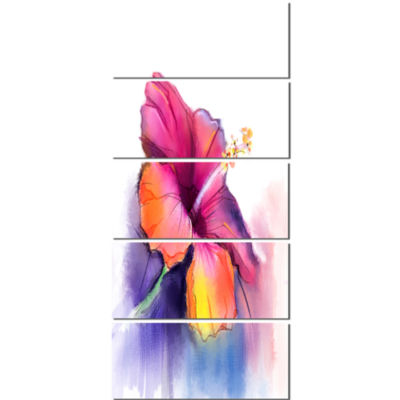 Red Yellow Hibiscus Flower in Blue Large Flower Canvas Wall Art - 5 Panels