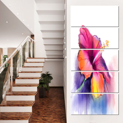 Designart Red Yellow Hibiscus Flower in Blue LargeFlower Canvas Wall Art - 5 Panels
