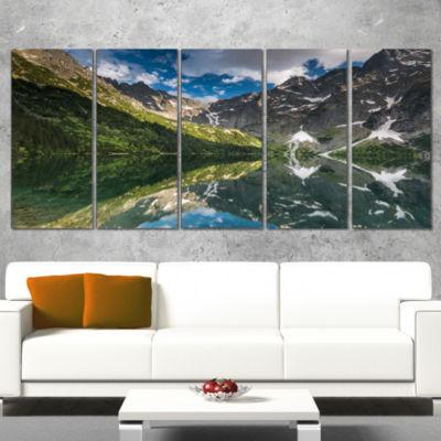 Designart Reflection of Mountain Peaks Landscape Canvas ArtPrint - 4 Panels