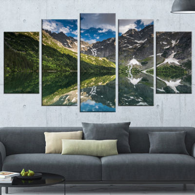 Designart Reflection of Mountain Peaks Landscape Wrapped Canvas Art Print - 5 Panels