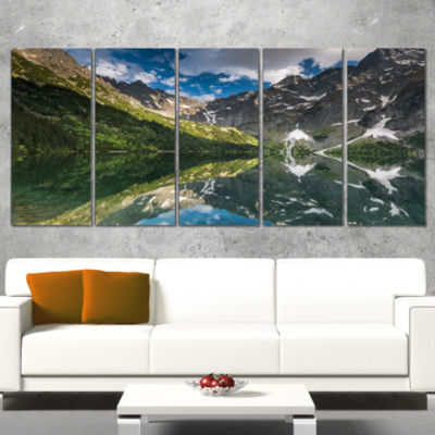 Designart Reflection of Mountain Peaks Landscape Canvas ArtPrint - 5 Panels