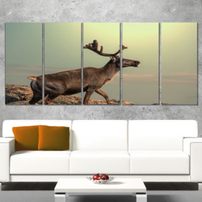 Designart Reindeer on Top of The Mountain Animal Wrapped Canvas Art Print - 5 Panels