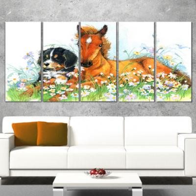 Designart Relaxing Brown Cute Horse Animal WrappedCanvas Art Print - 5 Panels