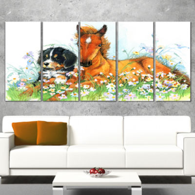 Relaxing Brown Cute Horse Animal Canvas Art Print- 5 Panels