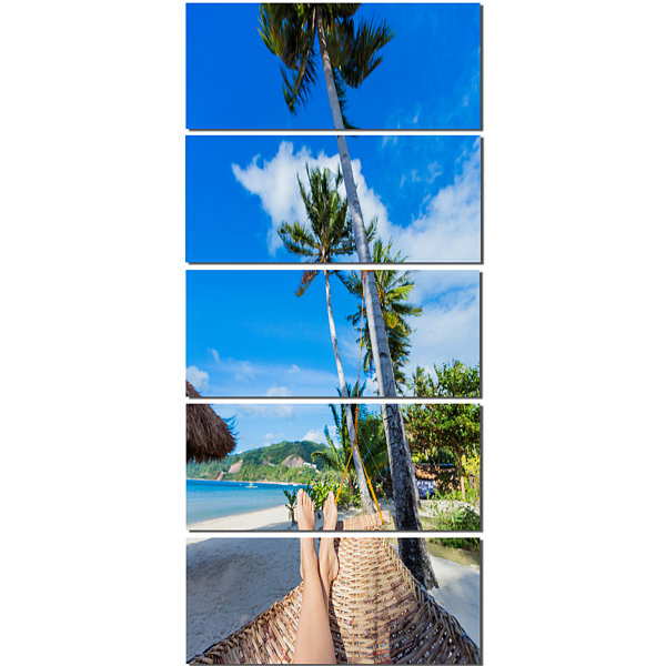Designart Relaxing in Hammock Landscape Photography Canvas Art Print - 4 Panels
