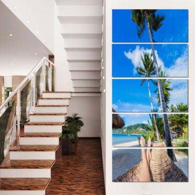 Designart Relaxing in Hammock Landscape Photography Canvas Art Print - 5 Panels