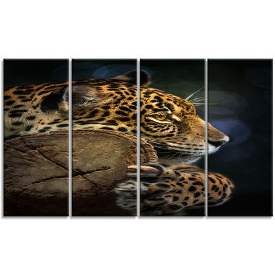 Designart Relaxing Jaguar Animal Photography Art -4 Panels
