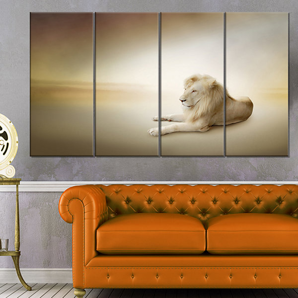 Designart Relaxing King of Animals Animal Canvas Wall Art -4 Panels
