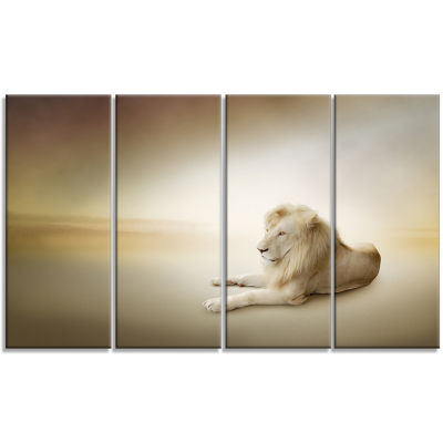Relaxing King of Animals Animal Canvas Wall Art -4 Panels