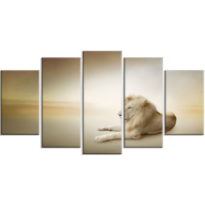 Relaxing King of Animals Animal Wrapped Canvas Wrapped Art - 5 Panels