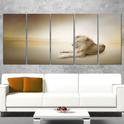 Designart Relaxing King of Animals Animal Canvas Wall Art -5 Panels