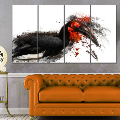 Relaxing Large Exotic Bird Animal Canvas Wall Art- 4 Panels