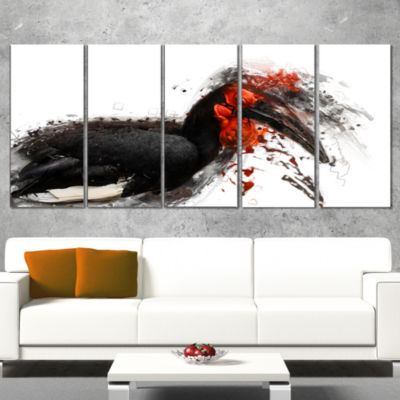 Relaxing Large Exotic Bird Animal Wrapped Canvas Wrapped Art - 5 Panels