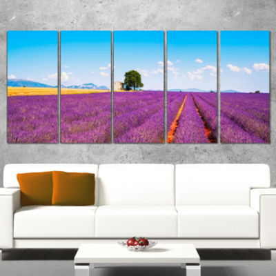 Designart Remote House and Tree in Lavender FieldOversizedLandscape Wall Art Print - 5 Panels