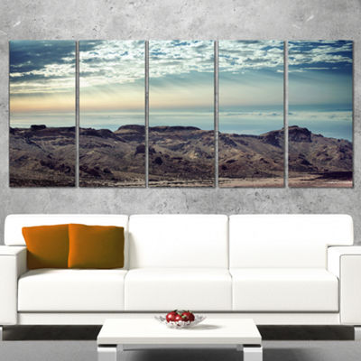 Designart Remote Mountains in Morning ContemporaryCanvas Art Print - 5 Panels