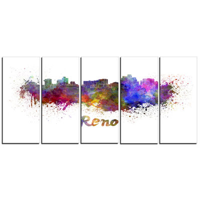 Designart Reno Skyline Cityscape Canvas Artwork Print - 5 Panels
