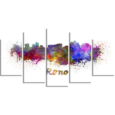 Designart Reno Skyline Large Cityscape Canvas Artwork Print- 5 Panels