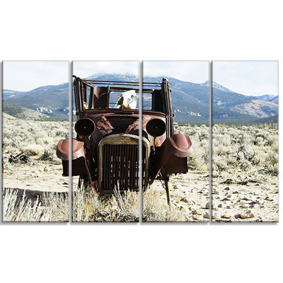 Designart Retro Car in Mountainous Area OversizedLandscapeCanvas Art - 4 Panels