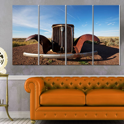 Designart Retro Car Under Calm Blue Sky OversizedLandscapeCanvas Art - 4 Panels