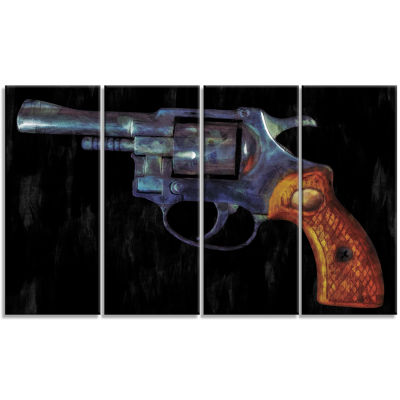 Retro Revolver Vintage Revolver Painting Canvas Art Print - 4 Panels