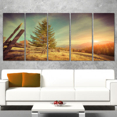 Designart Retro Style Autumn in Mountains Landscape Photo Canvas Art Print - 4 Panels