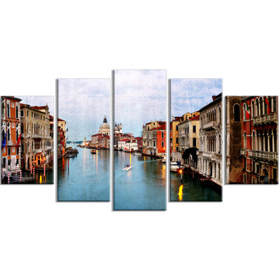 Designart Retro Style Grand Canal At Sunset Landscape Photography Canvas Print - 4 Panels