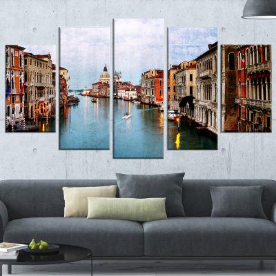 Designart Retro Style Grand Canal At Sunset Landscape Photography Canvas Print - 5 Panels
