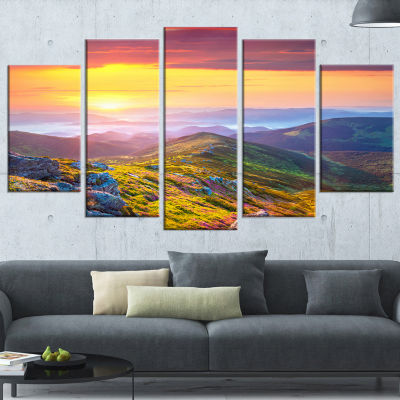 Designart Rhododendron Flowers in Colorful Hills Landscape Photography Wrapped Canvas Print - 5 Panels