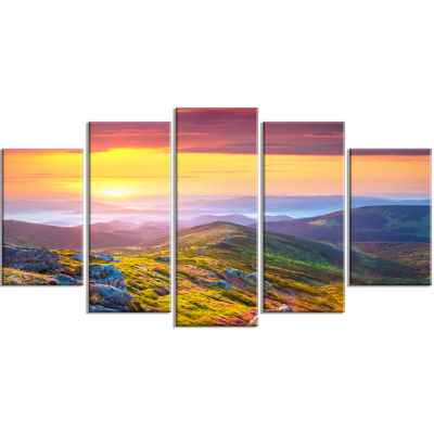 Rhododendron Flowers in Colorful Hills Landscape Photography Canvas Print - 5 Panels
