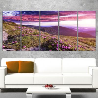 Designart Rhododendron Flowers in Hills LandscapePhoto Canvas Art Print - 4 Panels